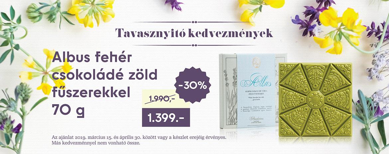 Albus fehér csokoládé zöld fűszerekkel (70 g)